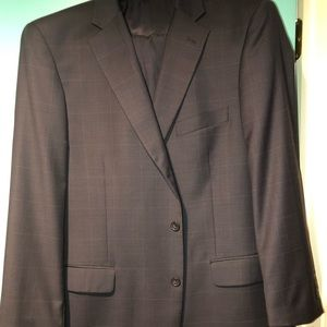 Navy Blue Suit with Light Blue Checkered Design